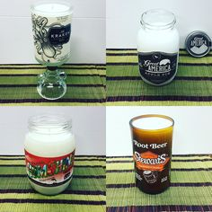 Some of the #candles I made for #karma and #coconuts these are some of the #unique #bottles I've had in the #garage. #thekraken #rum #greatamerica #applepie #moonshine #rumshine #wickeddolphin #strewarts #rootbeer #candlemaker #candlemaking #candlelove #etsyseller #etsy #handmade #handmadecandles
