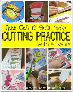 Cutting Practice with Scissors - FREE Seasonal Cut it Out! Packs from This Reading Mama.also tons of pre k and kinder packs! Cutting Activities, Fine Motor Activities For Kids, Preschool Learning, Preschool Activities, Kids Learning, Teaching, Preschool Writing, Preschool Lessons, Preschool Kindergarten