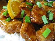 One of my favorite dinners: Orange ginger chicken. I do this without the orange zest because my Kroger doesn't carry it and it still turns out great. I also use applesauce instead of eggs.