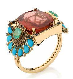 silvia furmanovich  gold  diamond  turquoise  egyptian  bracelet  jewelry  pink tourmaline  emerald  onyx