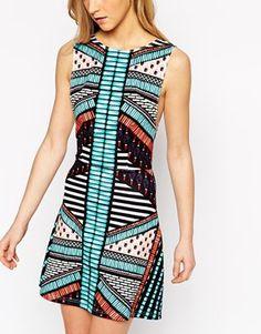 Enlarge Tiger Mist Petite Aztec Mini Dress