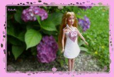 Puppenkleidung - Minikleid mit Herz ***  für Barbie *** weiss/rosa - ein Designerstück von Sabisilke bei DaWanda