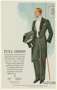 1931, New York. Tailcoat with peaked satin-faced lapels; modified puff sleeve, form fitting back. The white waistcaot features a straight waistline. Worn with a wing collar and white pocket square.