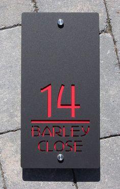 Contemporary House Number Door Sign Large Landscape x Original & Unique Laser Cut Bespoke/Customised with Road Name Laser Cut Large Rectangle House Number Sign x by KreativDesignCo Door Number Plaques, House Number Plaque, Door Numbers, 3 House Number, Number 3, Contemporary House Numbers, Contemporary Bedroom, Contemporary Design, Contemporary Cottage