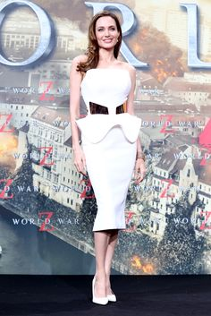 At the Berlin premiere of World War Z, she killed it in this futuristic Ralph & Russo peplum dress.   - MarieClaire.com