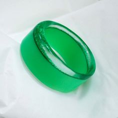 resin glitter bangle 'Mamie' in Sprout by karamae on Etsy, $40.00