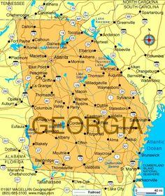 Map of Georgia | Georgia Hotels | Lodging | Interstate | Maps ...