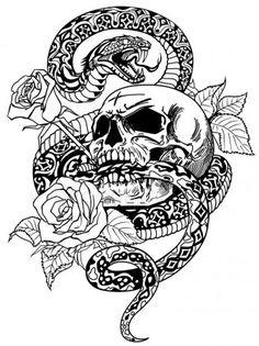 Snake skull roses black and white tattoo Pirate Skull Tattoos, Skull Rose Tattoos, Body Art Tattoos, Tatoos, Traditional Tattoo Black And White, Black And White Drawing, Skull Artwork, Skull Painting, Art Drawings