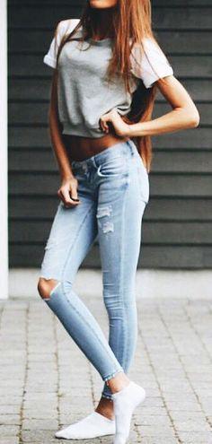 #summer #fashion / crop top + denim