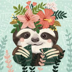 Animals Drawing Harriet Bee Campton Cute Sloth by Olivia Gibbs Canvas Art Size: H x W x D - Baby Sloth, Cute Sloth, Animal Drawings, Cute Drawings, Symbole Tattoo, Wallpaper Kawaii, Sloth Drawing, My Spirit Animal, Cute Art