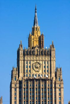 """Ministry of Foreign Affairs Building, Moscow, Russia - 3rd of """"Seven Sisters"""" Project, a group of skyscrapers built in the Stalinist architecture style or tiered construction."""