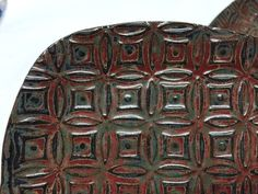 Bridges Pottery Set of  Four (4)  patterned square plates Midnight Black and Brick Red by bridgespottery on Etsy