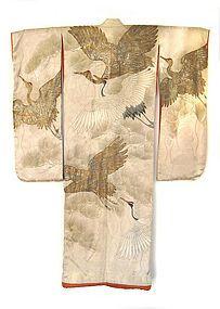 Japanese Antique Wedding Kimono with Cranes