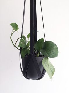 Minimalistic plant hanger black leather, hanging planter #etsy #green #botanica