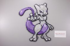 Perler and Artkal fuse bead Pokemon Mewtwo by Manic Made Geekery