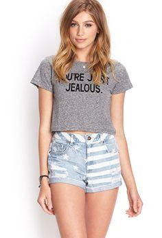 American Flag Denim Shorts | FOREVER21 #SummerForever #Denim (really like the shirt tho)