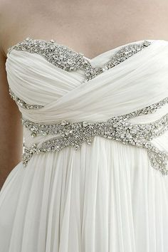 White Draped Down with Crystal and Diamond Embellished Bodice