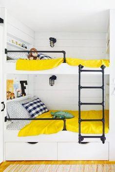 Kinderzimmer, Ideen Fürs Zimmer, Spielen, Etagenzimmer, Etagenbett Schiene,  Kleine Etagenbetten,