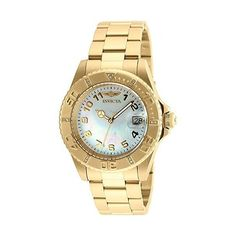 Invicta Pro Diver Analog Display Swiss Quartz Gold-Plated Watch ($150) ❤ liked on Polyvore featuring jewelry, watches, analog watches, invicta watches, gold plated watches, analog wrist watch and 18k jewelry