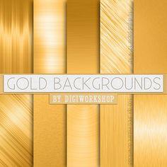 """Gold Digital Paper Background: """"Gold Backgrounds"""" digital golden backgrounds…"""