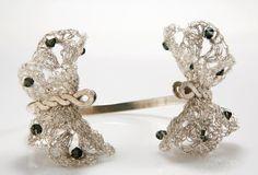 Butterfly lace bracelet crochet wire Metal Lace by inbarshahak, $189.00