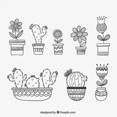 Pack of beautiful cactus Doodle Drawings, Doodle Art, Bullet Journal Inspiration, Embroidery Patterns, Flower Embroidery, Coloring Pages, How To Draw Hands, Creations, Sketches