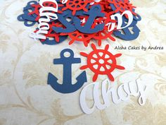 Anchor Confetti, Ahoy Its A Boy, Anchor Ships Captains Wheel, Navy Blue White Red Decor, Boy Baby Shower Nautical Themes, Set of 100