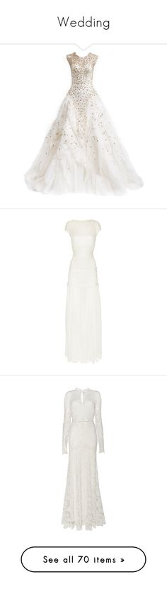 """""""Wedding"""" by vale-23796 ❤ liked on Polyvore featuring dresses, gowns, wedding dresses, long dresses, vestidos, monique lhuillier dresses, white dress, long white dress, monique lhuillier and wedding"""