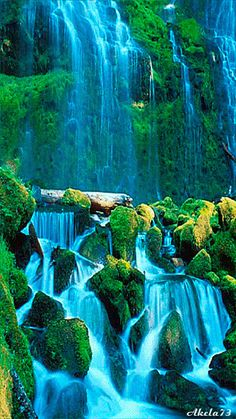 - don't let anyone know - awesome Colorful Waterfall ~ DK - Ingeborg Norouz - Beautiful Gif, Beautiful World, Beautiful Places, Beautiful Pictures, Beautiful Waterfalls, Beautiful Landscapes, Gif Bonito, Waterfall Wallpaper, Nature Gif
