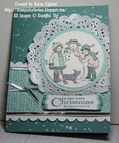 Winter is Calling by kvsquires - Splitcoaststampers  Put the large punch out snowflake behind image instead of the doily