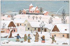 CZECH CHRISTMAS CARD Winter Scenes, Cartoon Drawings, Art Inspo, Illustrators, Cute Pictures, Christmas Cards, The Past, Czech Republic, Painters