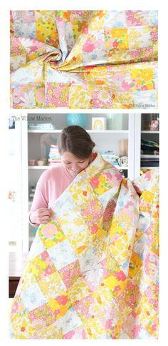 pink and yellow vintage sheet quilt. 70 by 70 quilt. Vintage Sheets, Vintage Quilts, Vintage Fabrics, Doll Sewing Patterns, Simplicity Sewing Patterns, Quilting Tips, Quilting Projects, Beginner Quilting, Patchwork Quilting