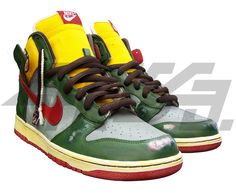 """Nike Dunk enthusiasts know Nike came out with a Boba Fett inspired Dunk high back in 2008. The cool thing about custom shoes though compared to things Nike releases is an """"inspired"""" shoe has a lot more flexibility since they aren't mass produced. While Nike is usually stuck to colorways shoe customizers can create something like these Boba Fett Bounty Hunter Dunks by ChrisCo. Taking the armour of Boba Fett to heart Chrisco painted the majority of the upper with a shade of army green complete…"""