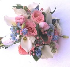 Pink, white and blue wedding flowers bridal bouquet by www.CreativeGardensNH.com, Julie Floyd in Lee, NH