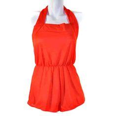 135154056 Vintage Red Pinup Style Halter Shorts Romper L  Avian Plus Size Lingerie