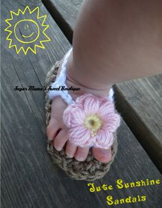 Crochet Jute Sunshine Sandals for Babies and by SugarMamaShop, $10.99