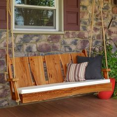 A&L Furniture Co. Blue Mountain Live Edge Timberland Rustic Porch Swing A&L Furniture Co. Rustic Outdoor Furniture, Wood Patio Furniture, Painting Wooden Furniture, Outdoor Decor, Antique Furniture, Modern Furniture, Asian Furniture, Furniture Design, Cheap Furniture