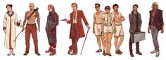 "More Neuromancer characters from earlier this year. From L to R: Lady Hideo Lupus Yonderboy Julius ""Julie"" Deane The Turing Police Wage Lonny Zone Neuromancer_Remaining Characters Vaporwave, Cyberpunk, William Gibson, Prop Design, Core Collection, Shadowrun, Time Travel, Concept Art, Sci Fi"