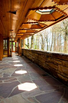 Kentuck Knob. Frank Lloyd Wright, in Ohiopyle, Pa. 1956. Hexagon module repeated throughout home. Usonian Style.