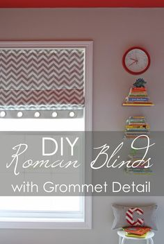 One of the most common comments I received on Carson's Room reveal post was  regarding the Roman Blinds and how I made the grommet detailing on the  bottom. So today I am sharing how I did it!  These blinds were actually created because of a huge mistake I made.  Originally, I was just going to