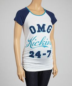 Loving this White & Teal 'OMG Kicking 24-7' Maternity Raglan Top - Women on #zulily! #zulilyfinds