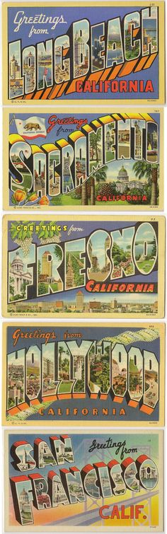 Greetings from California vintage large letter greetings postcards