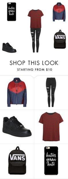 """stripes #1"" by merel-meuleman ❤ liked on Polyvore featuring NIKE, Topshop, R13 and Vans"