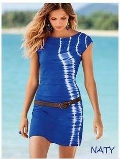 NATY Dámské letní šaty s páskem batikované modré