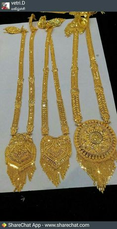 Very pretty necklaces Gold Wedding Jewelry, Gold Rings Jewelry, Gold Jewelry Simple, Gold Bangles, Bridal Jewelry, Gold Mangalsutra Designs, Gold Earrings Designs, Gold Jewellery Design, Necklace Designs
