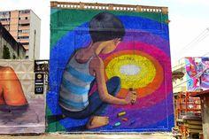 Seth Globepainter's Murals of Children Immersed in Colorful Galaxies - My Modern Met