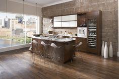 contemporary kitchen by Casa Verde Design Walnut Kitchen, Kitchen White, Walnut Cabinets, Kitchen And Bath Design, Brick Design, Beautiful Kitchens, House Design, Home, Minneapolis