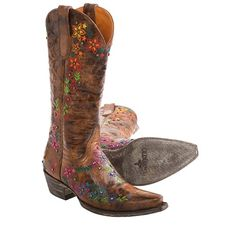 """Old Gringo Sozey Cowboy Boots - 13"""", Snip Toe (For Women) in Brown/Multi Color Floral"""