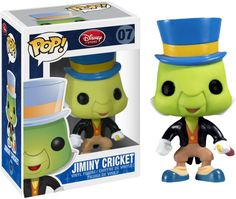 Bring home this collectable Disney POP! Jiminy Cricket Vinyl Figure, developed by Disney and Funko. Collect all 12 Disney POP! Funko Pop Dolls, Funko Pop Figures, Pop Vinyl Figures, Funko Toys, Jiminy Cricket, Funk Pop, Disney Pop, Film Disney, Disney Stuff