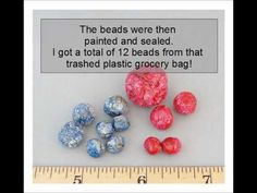 DIY recycled plastic grocery bag into beads Plastic Bottle Tops, Recycled Plastic Bags, Plastic Grocery Bags, Recycled Crafts, Plastic Molds, Fabric Beads, Paper Beads, Hobbies And Crafts, Diy Crafts For Kids
